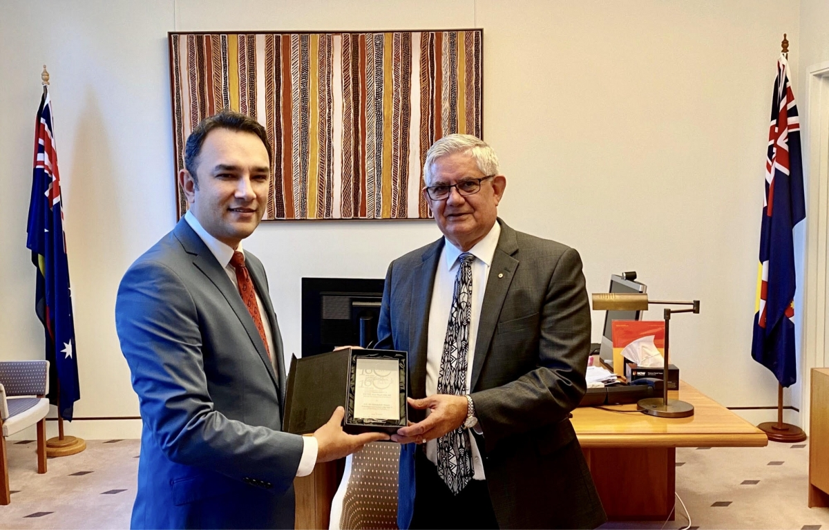 Australia and Afghanistan's relations can be traced back as far as the 1860s when the Afghan Cameleers came to Australia.  In the midst of its 160th anniversary, Ambassador Wahidullah Waissi called on the Honorable Ken Wyatt AM, Member of the Parliament and Minister for Indigenous Australians, at the Australian Parliament in Canberra. Both sides discussed Cameleers history and contributions to the construction of transportation and communication and exploration of the outback Australia.  The Honorable Minister Wyatt, who is also one of the proud descendants of the Cameleers, appreciated anniversary celebration. They also discussed joint activities as part of the 160th celebration year to keep Cameleer's legacy alive.  Ambassador Waissi presented an engraved crystal block honoring the 160th Anniversary logo to the Hon Minister.